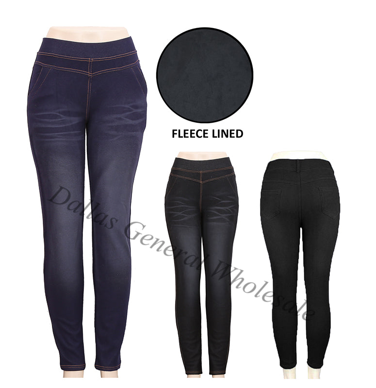 Ladies Fur Lining Denim Jeans Wholesale