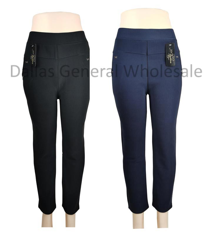 Ladies Stripes Fur Lining Fitted Trousers Wholesale