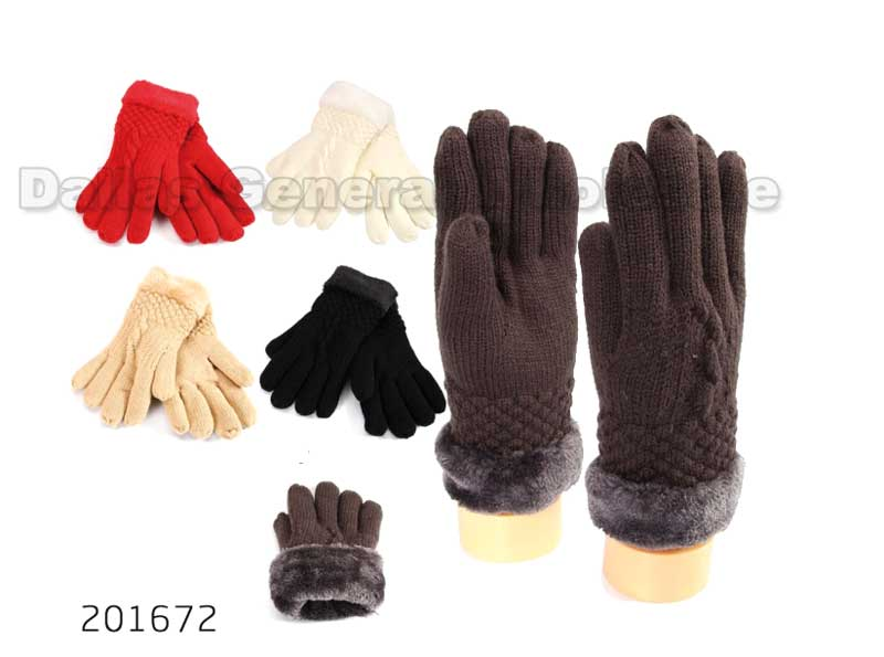 Ladies Fur Insulated Knitted Gloves Wholesale - Dallas General Wholesale