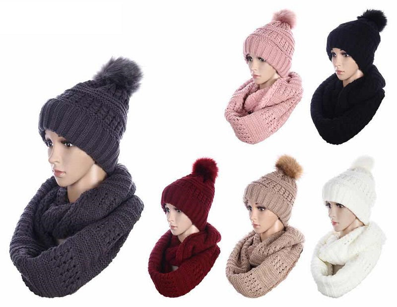 Fashion Beanie Cap with Infinity Scarf Set Wholesale - Dallas General Wholesale