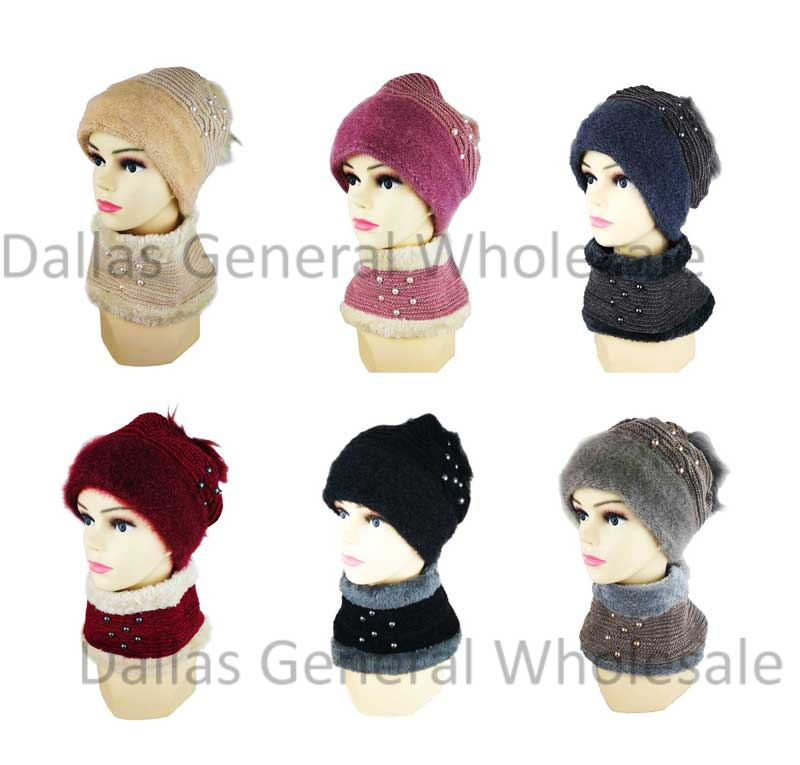 Fur Lining Beanie Hat with Circle Scarf Set Wholesale - Dallas General Wholesale