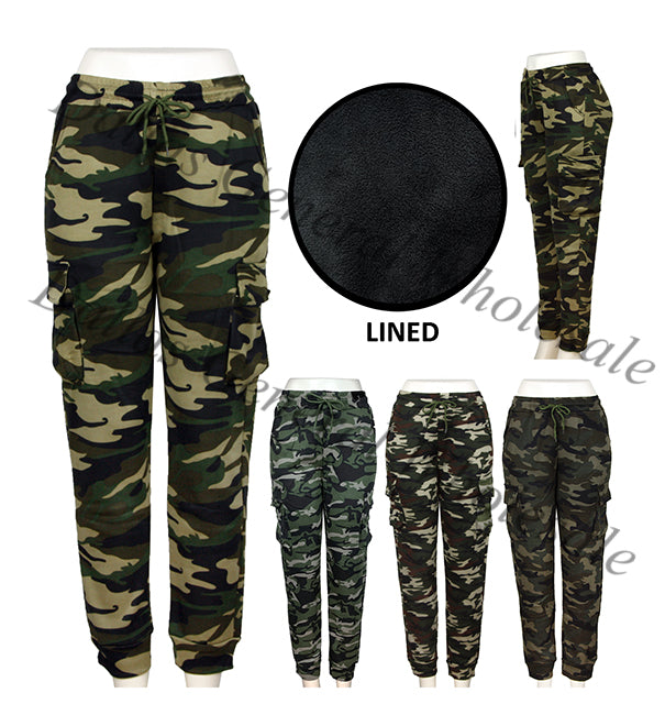 Camouflage Fur Insulated Jogger Pants Wholesale