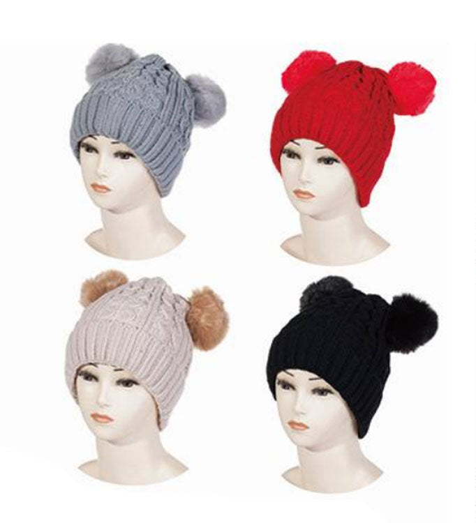 Ladies Pom Pom Winter Beanie Hats Wholesale - Dallas General Wholesale