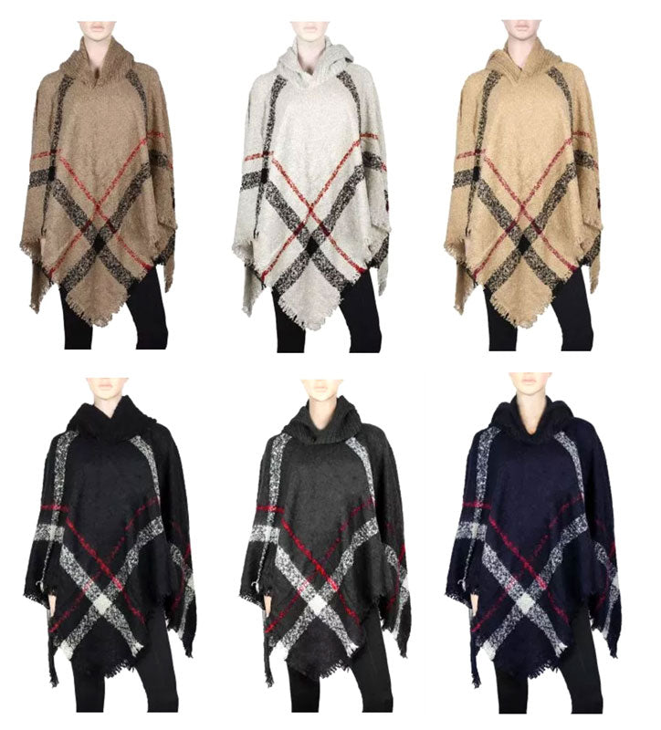 Ladies Plaid Sweater Ponchos with Hood Wholesale - Dallas General Wholesale
