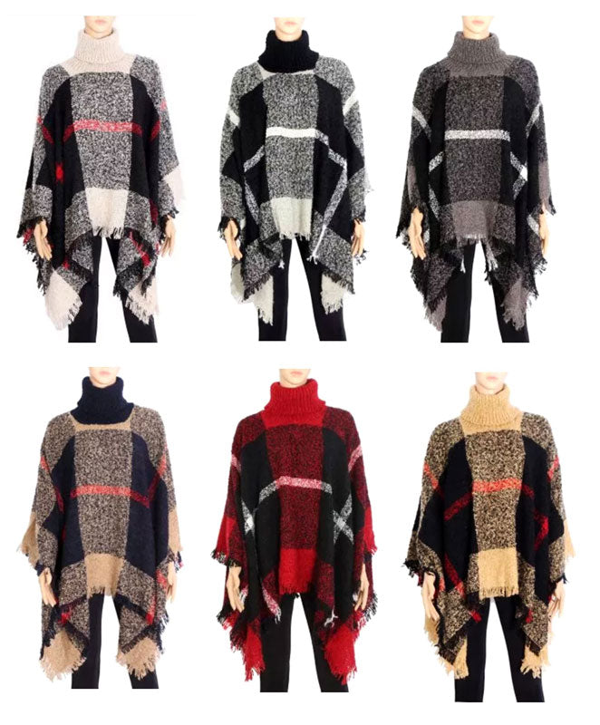 Ladies Plaid Sweater Ponchos Wholesale - Dallas General Wholesale