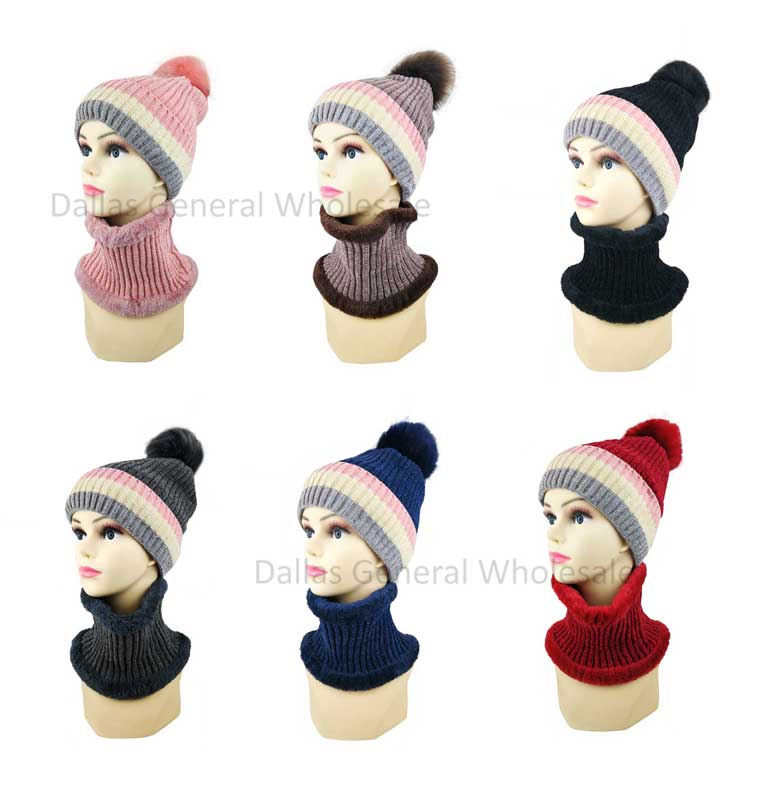 Ladies Fur Lining Beanie Hat with Circle Scarf Set Wholesale - Dallas General Wholesale
