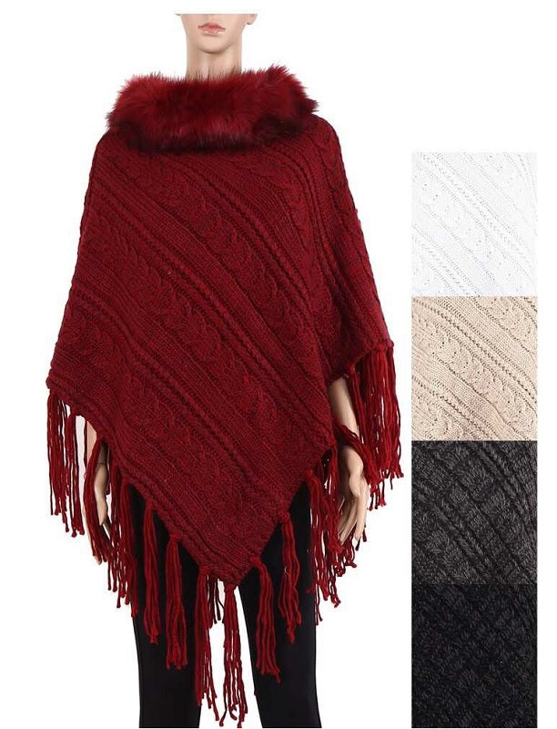 Knitted Winter Sweater Ponchos Wholesale - Dallas General Wholesale