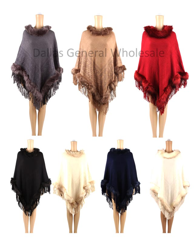 Fur Knitted Winter Sweater Ponchos Wholesale