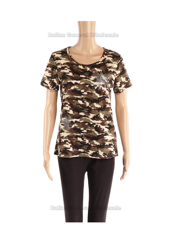 Laides Casual Camouflage T-Shirts Wholesale