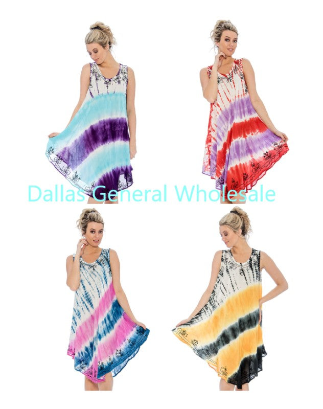Fashion Rayon Tie Dye Dresses Wholesale - Dallas General Wholesale