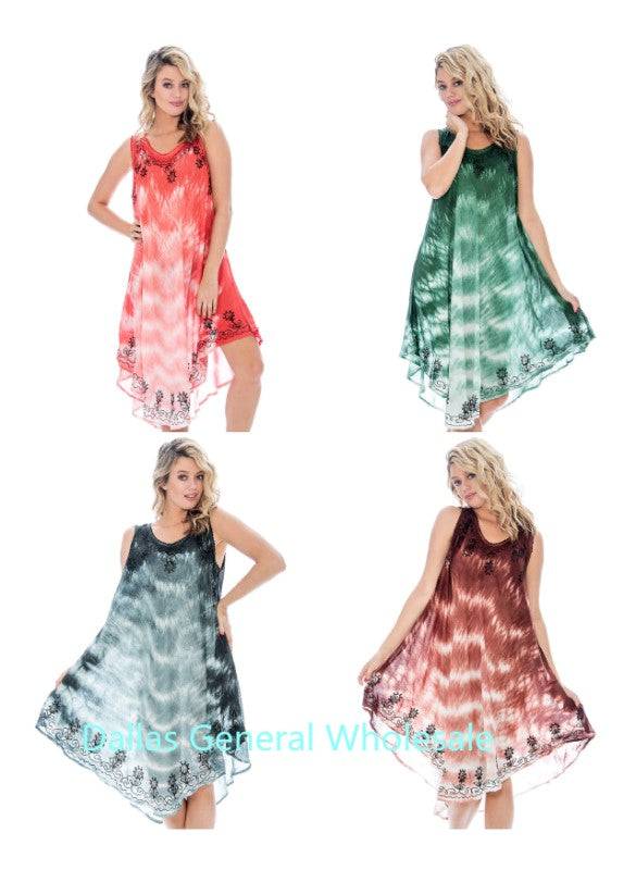 Women Fashion Rayon Tie Dye Dresses Wholesale - Dallas General Wholesale