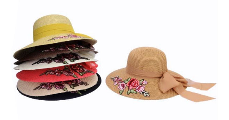 Floppy Straw Beach Hats w/ Rose Wholesale - Dallas General Wholesale