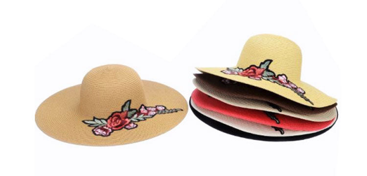 Fashion Beach Straw Hats w/ Rose Wholesale - Dallas General Wholesale