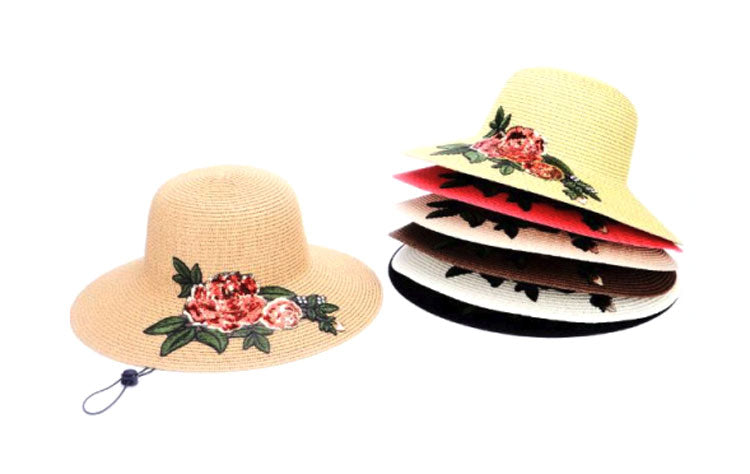 Ladies Flower Straw Visor Hats Wholesale - Dallas General Wholesale