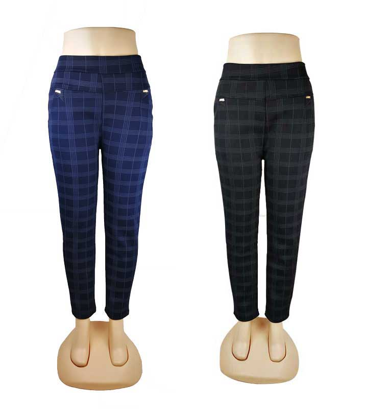 Ladies Plaid Thermal Trouser Pants Wholesale - Dallas General Wholesale