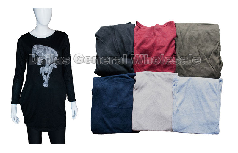Elephant Sweater Shirts with Pockets Wholesale - Dallas General Wholesale