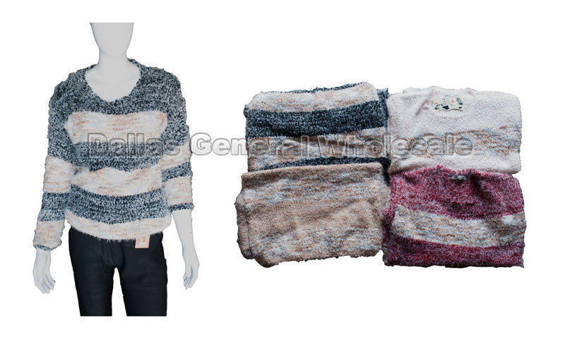 Fuzzy Color Banded Sweater Wholesale - Dallas General Wholesale