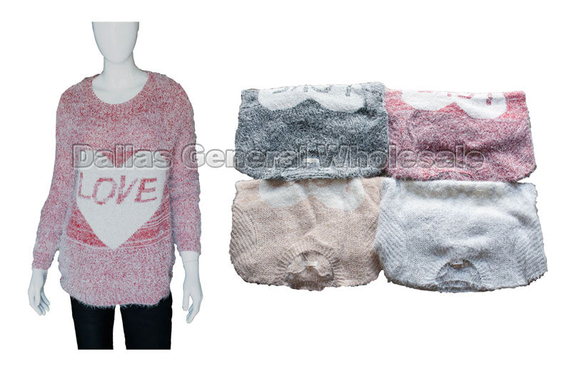 Duo Color Love Heart Sweater Wholesale - Dallas General Wholesale