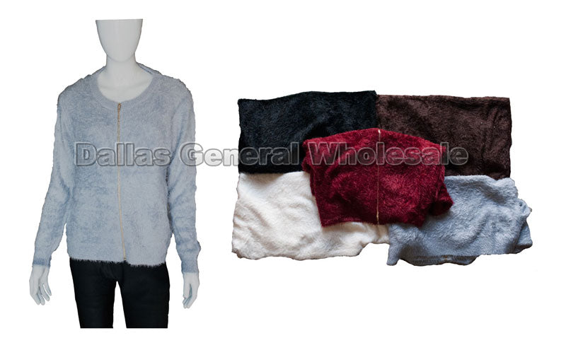 Faux Fur Zippered Sweater Wholesale - Dallas General Wholesale