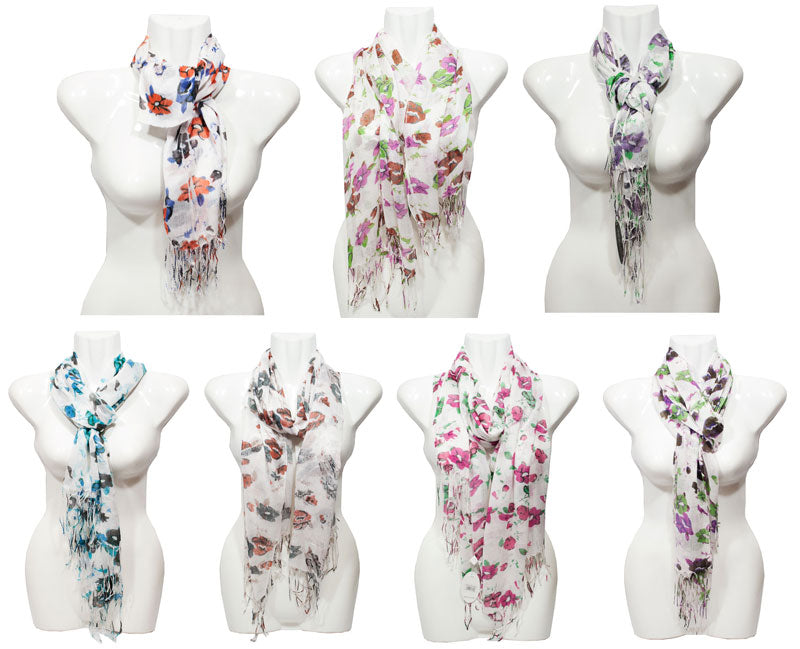 Women's Flower Printed Fashion Casual Fall / Spring Scarves Wholesale - Dallas General Wholesale