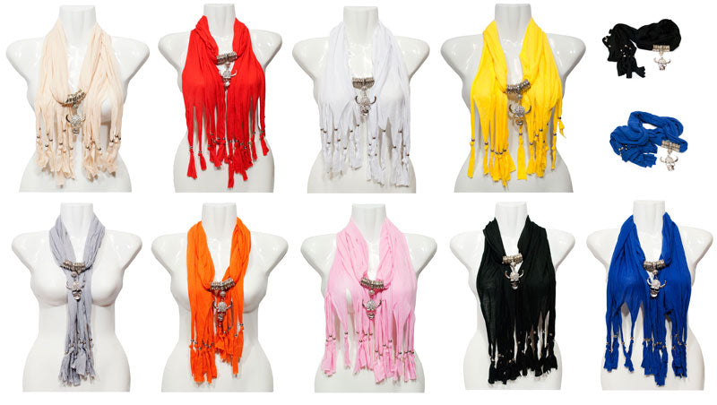Studded Skull Pendant Jewelry Fashion Scarf Wholesale - Dallas General Wholesale