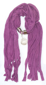 Ladies Studded Sea Shell Pendants Fashion Scarf Wholesale - Dallas General Wholesale