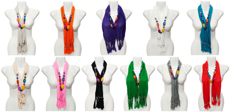 Assorted Colors Beads Pendants Fashion Scarf Wholesale - Dallas General Wholesale