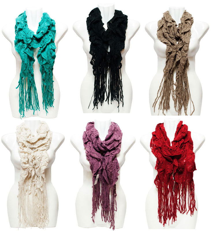 Ladies Winter Warm Knitted Scarf with Fringes Wholesale - Dallas General Wholesale