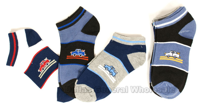 Little Boys Trucks Casual Socks Wholesale - Dallas General Wholesale