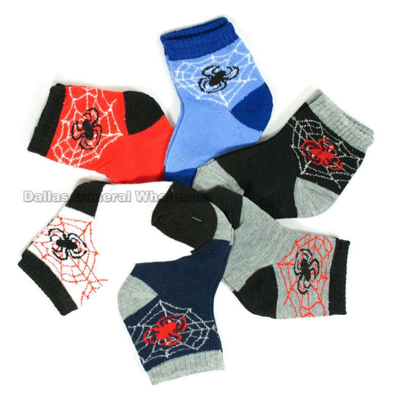 Little Boys Spider Casual Socks Wholesale - Dallas General Wholesale