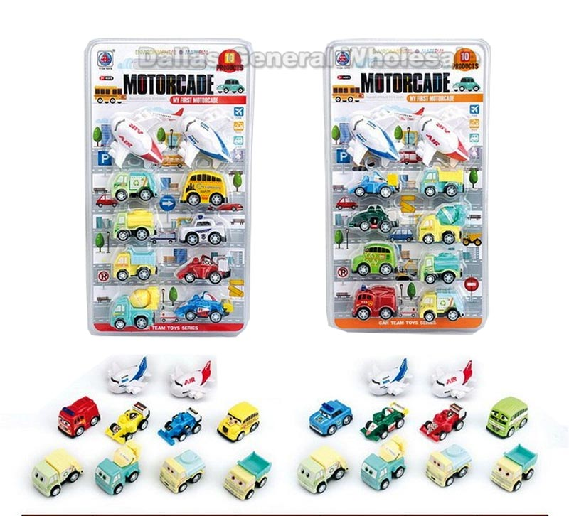 10 PC Toy Friction Cars Play Set Wholesale
