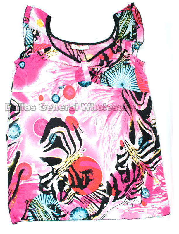 Little Girls Printed Summer Blouses Wholesale - Dallas General Wholesale