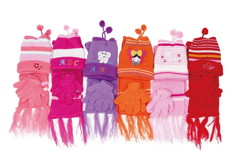 883647 Little Girls Beanie Gloves Scarf Set Wholesale - Dallas General Wholesale
