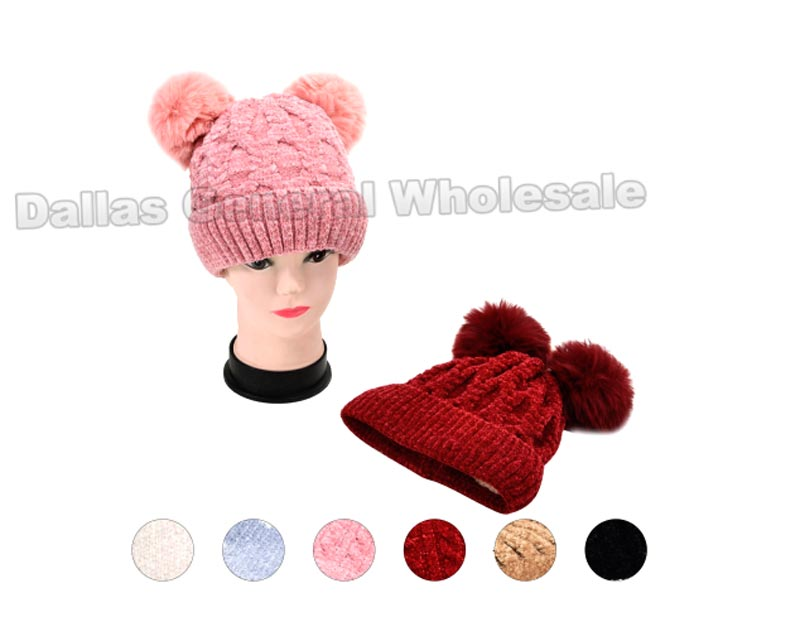 Kids Fur Lining 2 Pom Pom Beanie Hats Wholesale - Dallas General Wholesale