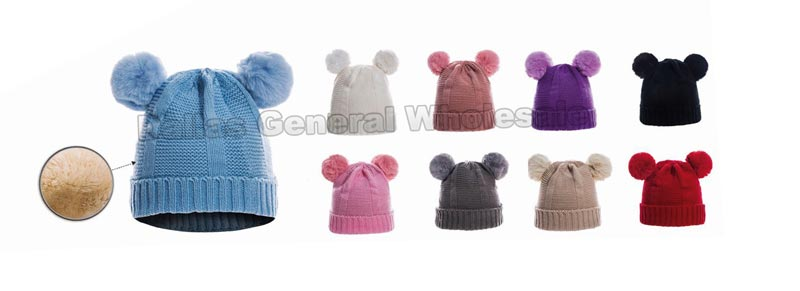Little Girls Fur Lining Pom Pom Beanie Hats Wholesale - Dallas General Wholesale