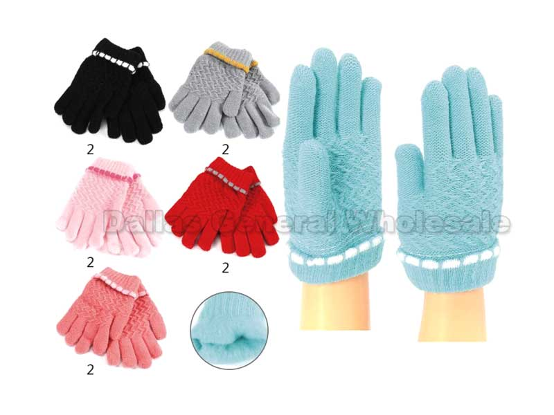 Little Girls Knitted Fleece Insulated Gloves Wholesale - Dallas General Wholesale