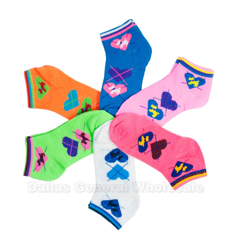 Girls Hearts Printed Casual Ankle Socks Wholesale - Dallas General Wholesale