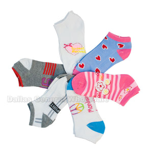 Little Girls Low Cut Ankle Socks Wholesale - Dallas General Wholesale