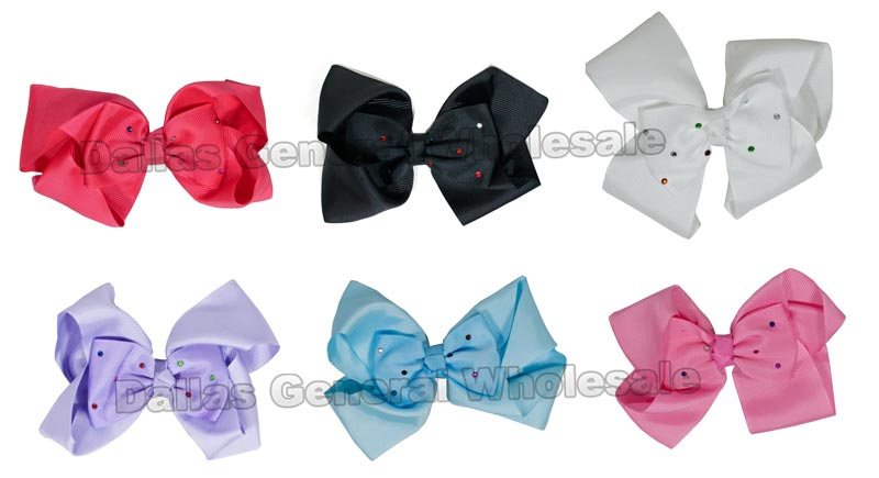 Studded Ribbon Hair Bows Wholesale - Dallas General Wholesale