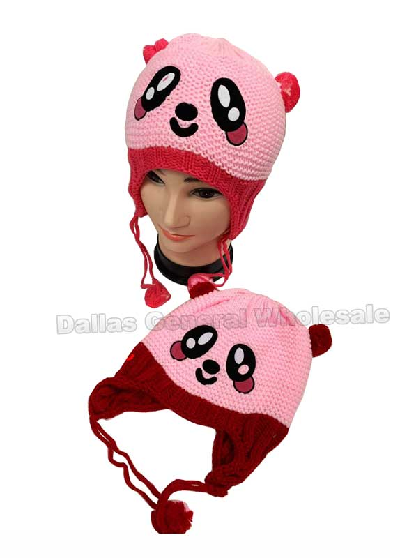 Girls Bear Knitted Beanies Wholesale - Dallas General Wholesale