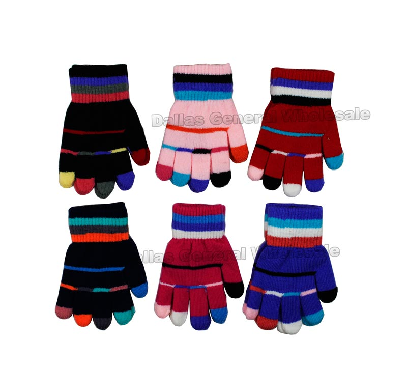 Little Kids Colorful Knitted Gloves Wholesale - Dallas General Wholesale