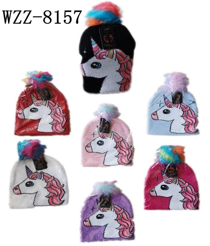 Girls Unicorn Designed Beanie Hats Wholesale - Dallas General Wholesale