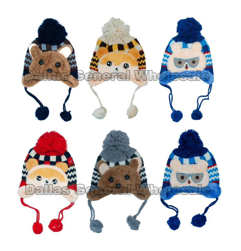 Children's Fur Lining Animal Toboggan Beanie Hats Wholesale - Dallas General Wholesale