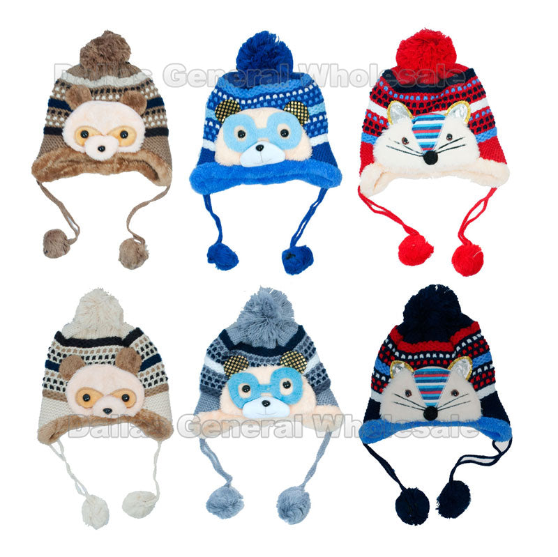 Children's Fur Lining Critters Toboggan Beanie Hats Wholesale - Dallas General Wholesale