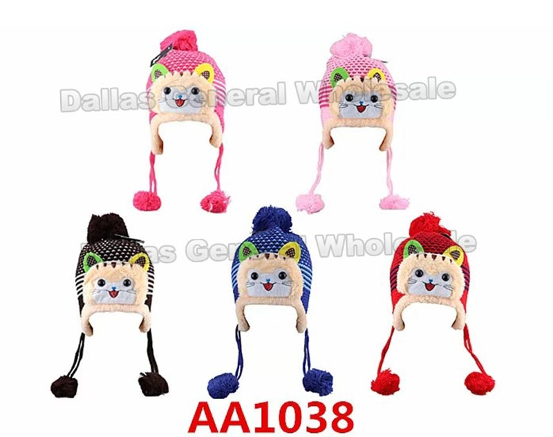 Girls Kitten Toboggan Beanie Hats Wholesale - Dallas General Wholesale