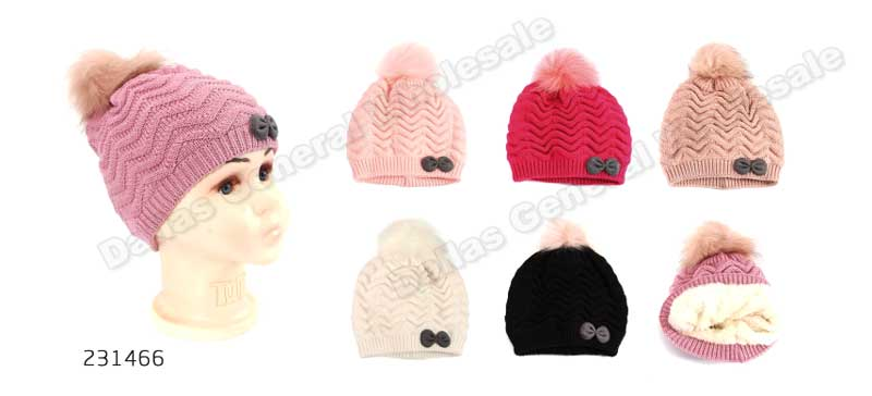 Little Girls Insulated Pom Pom Beanies Wholesale - Dallas General Wholesale