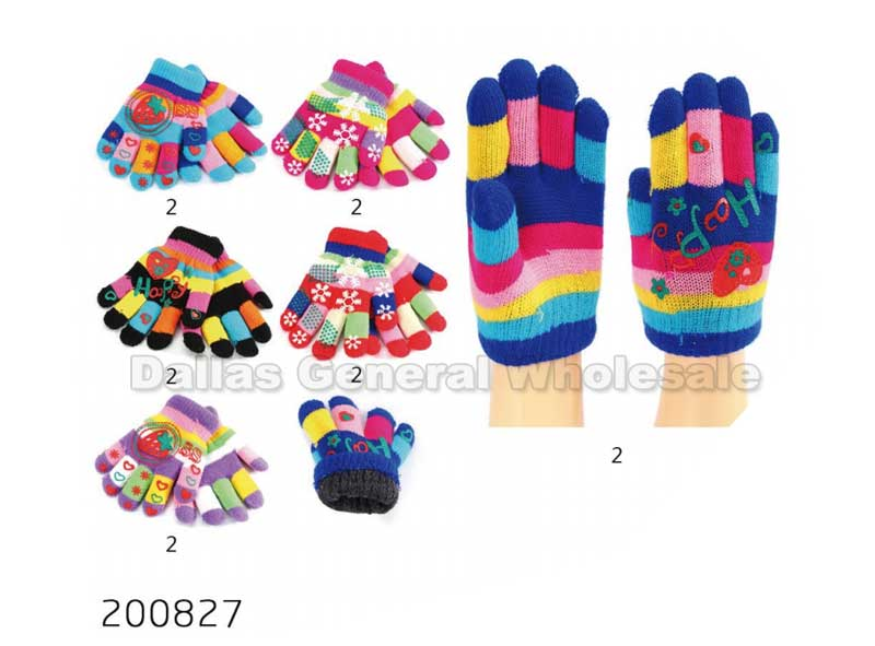 Little Girls Cute Knitted Gloves Wholesale - Dallas General Wholesale