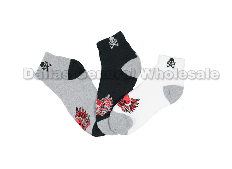 Casual Ankle Skull Design Socks Wholesale - Dallas General Wholesale