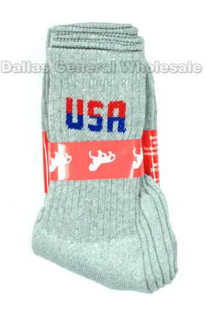 Men USA Casual Crew Socks Wholesale - Dallas General Wholesale