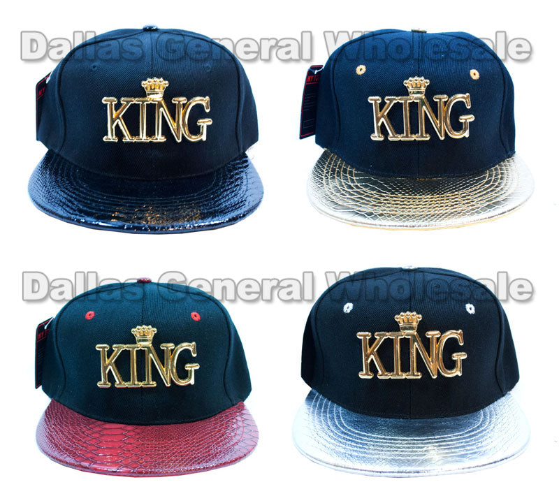 """KING"" Trendy Snap Back Flat Bill Caps Wholesale - Dallas General Wholesale"